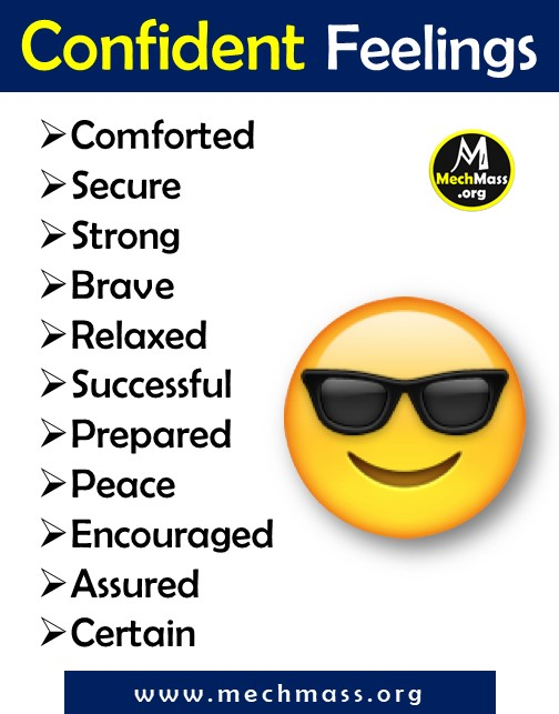 list of emotions and feeling words for confident, a to z feeling words list pdf