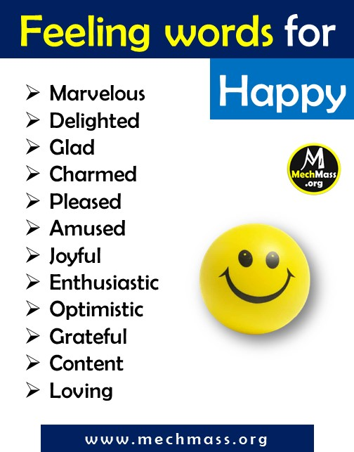 list of emotions and feeling words for happy, a to z feeling words list pdf
