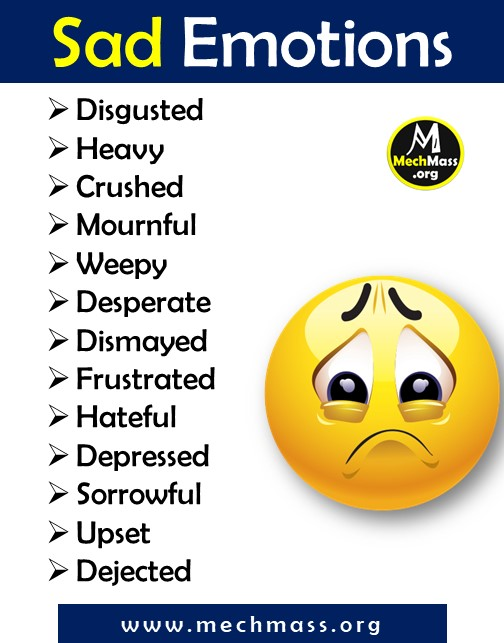 list of emotions and feeling words for sad, a to z feeling words list pdf