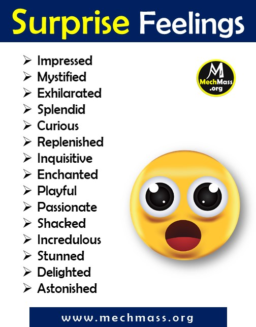 list of emotions and feeling words for surprise, a to z feeling words list pdf