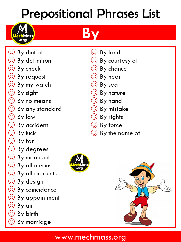 list of prepositional phrases, popular prepositional phrases list with by