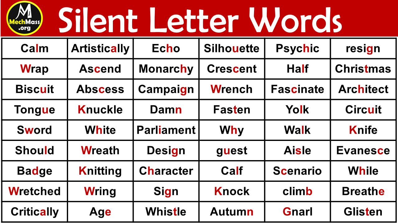 words with silent letters