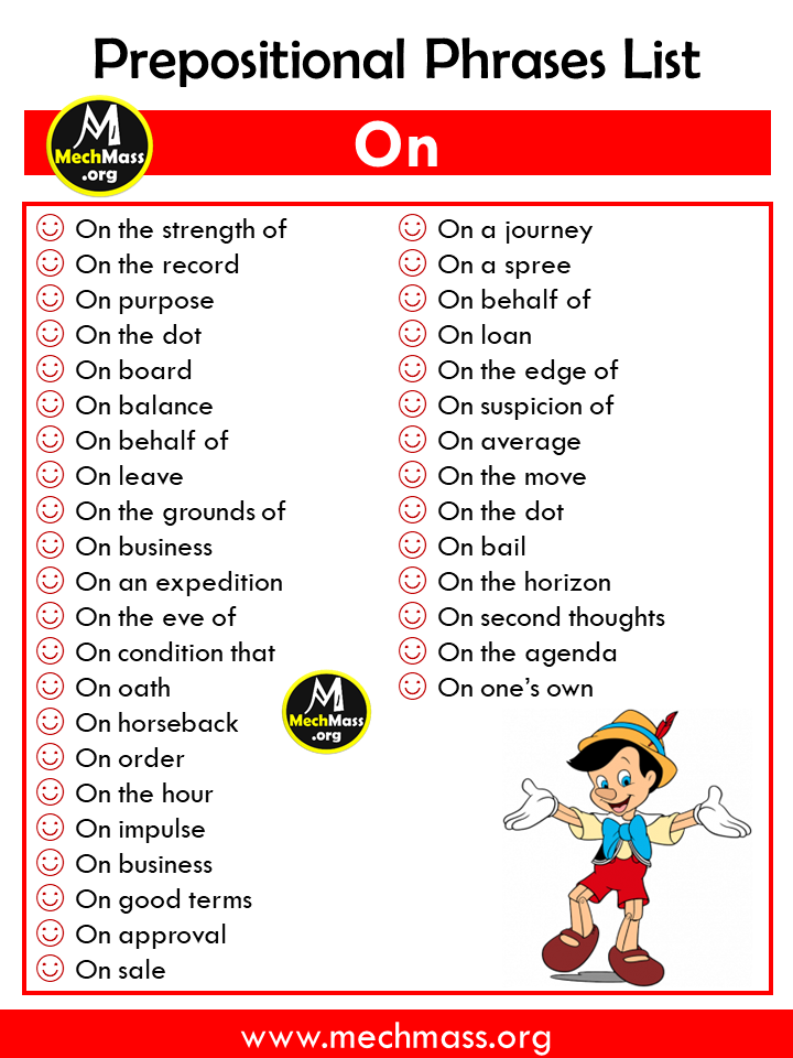 list of prepositional phrases, popular prepositional phrases list with on