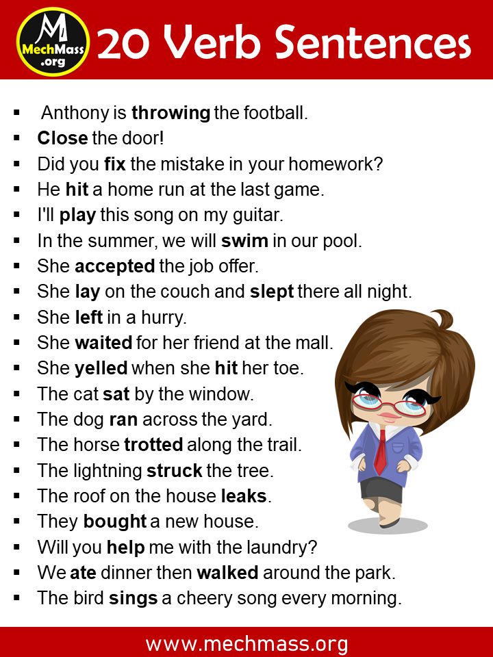 Verbs Examples with Sentences
