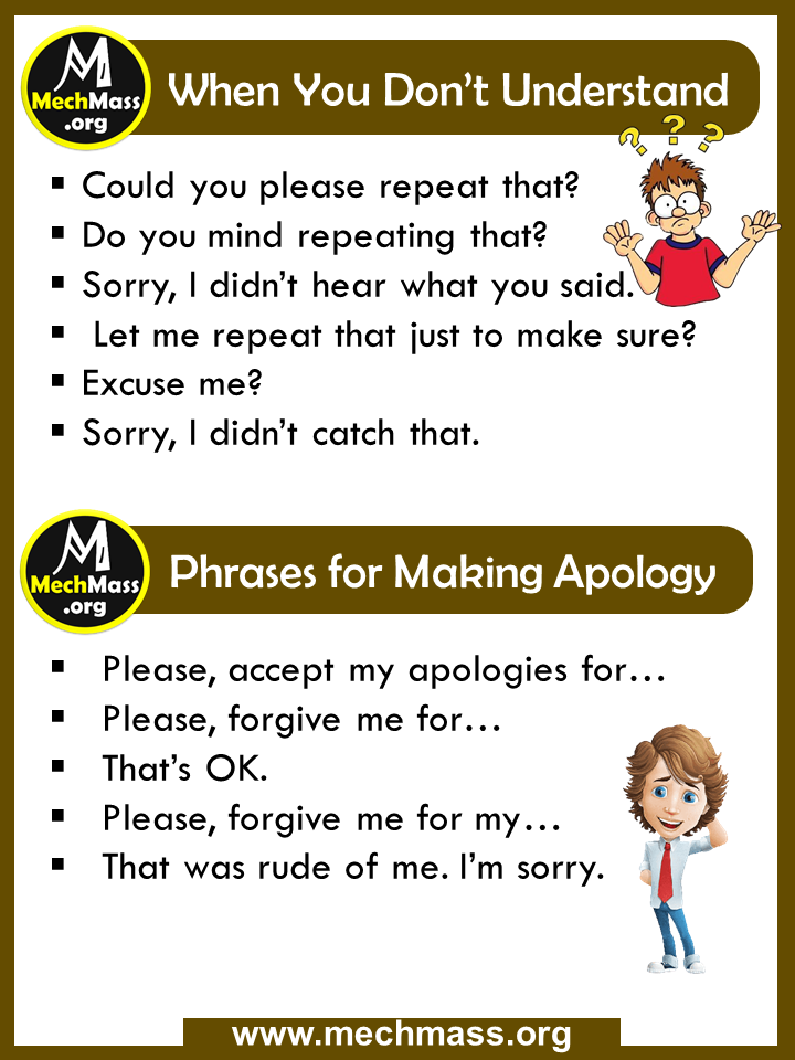 common phrases for make apology
