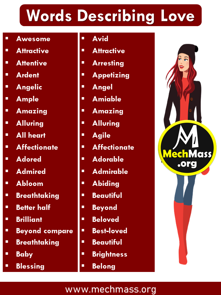 list of Words to Describe feeling of love