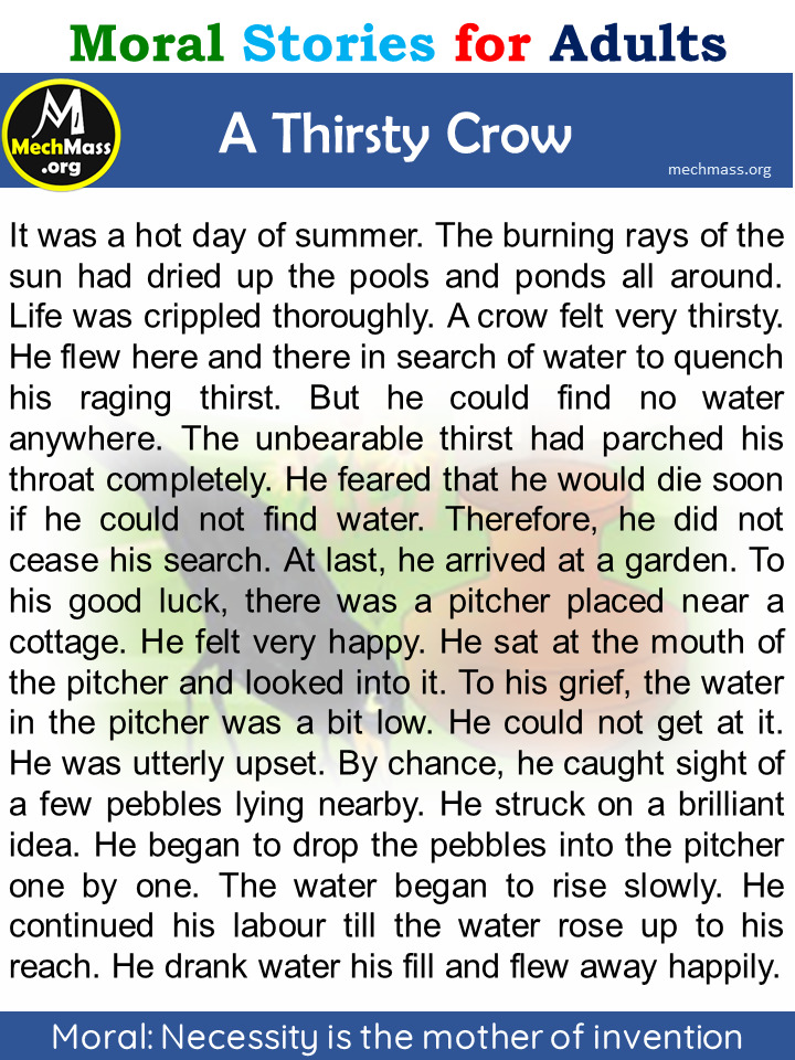 a thirsty crow story
