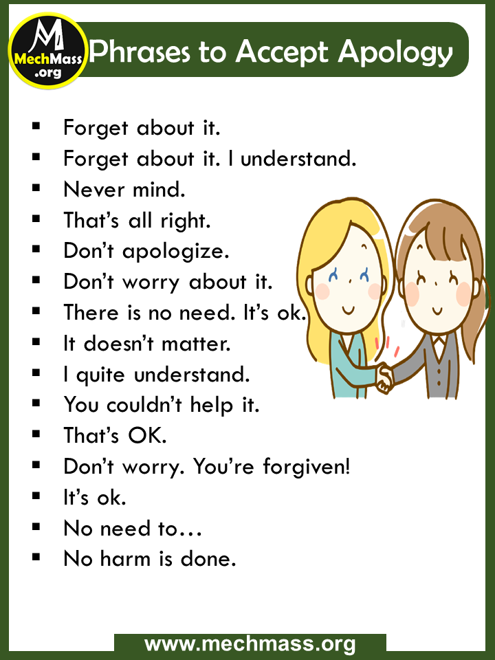 common phrases for accept apology