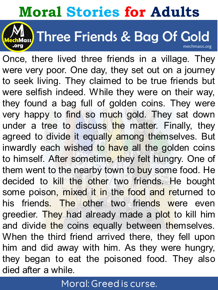 three friends and the bag of gold story
