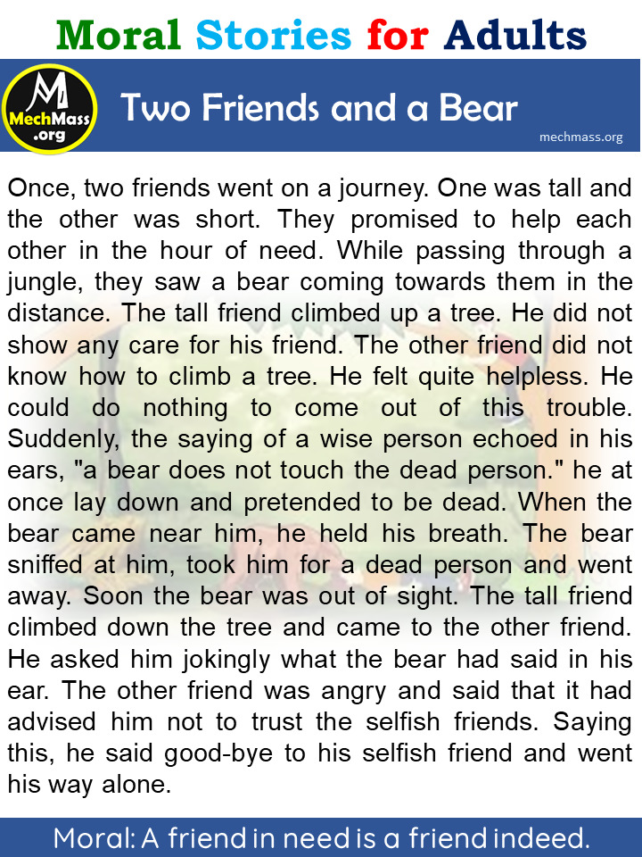 two friends and the bear story