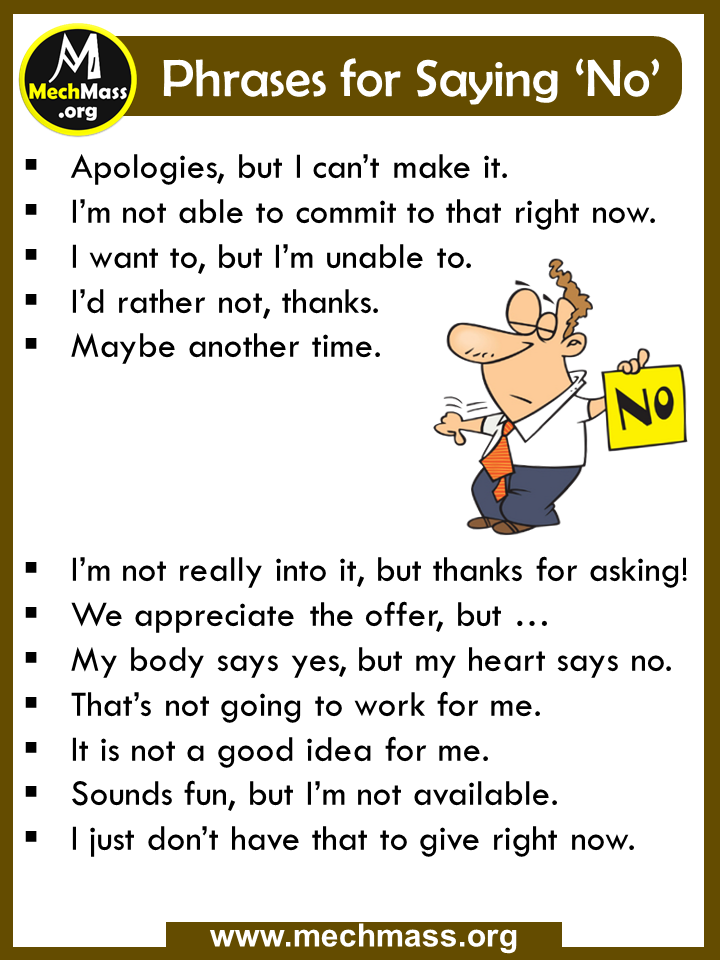 common phrases for saying No
