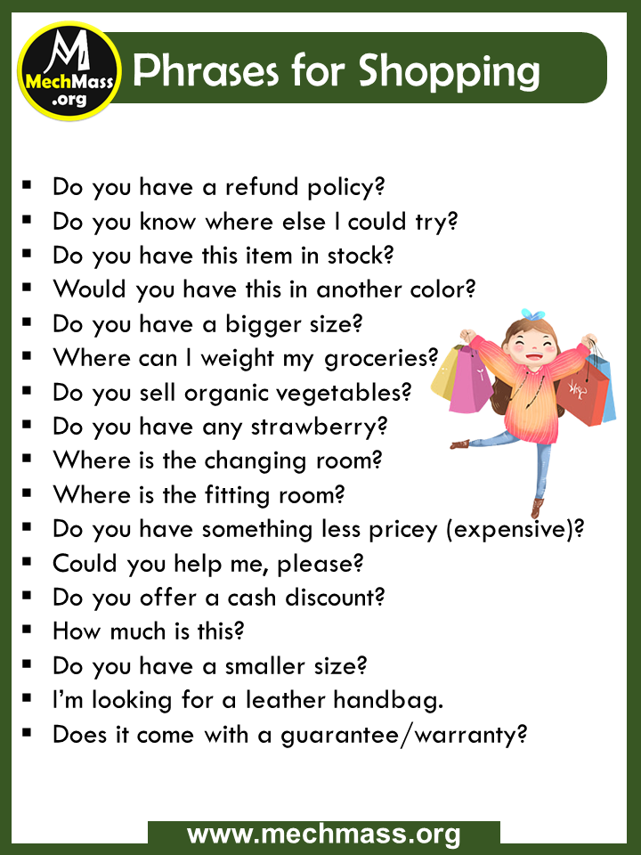 common phrases for shopping