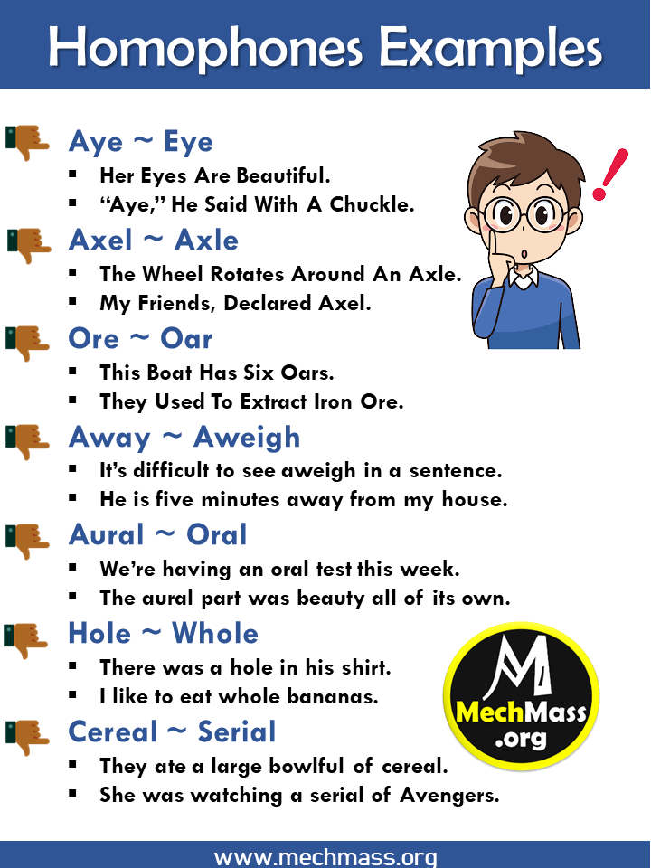 homophone examples with sentences