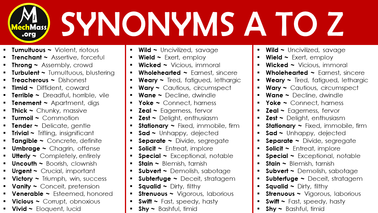 synonyms list a to z